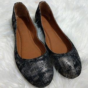 NWT Frye Leather Gunmetal Carson Ballet Flats